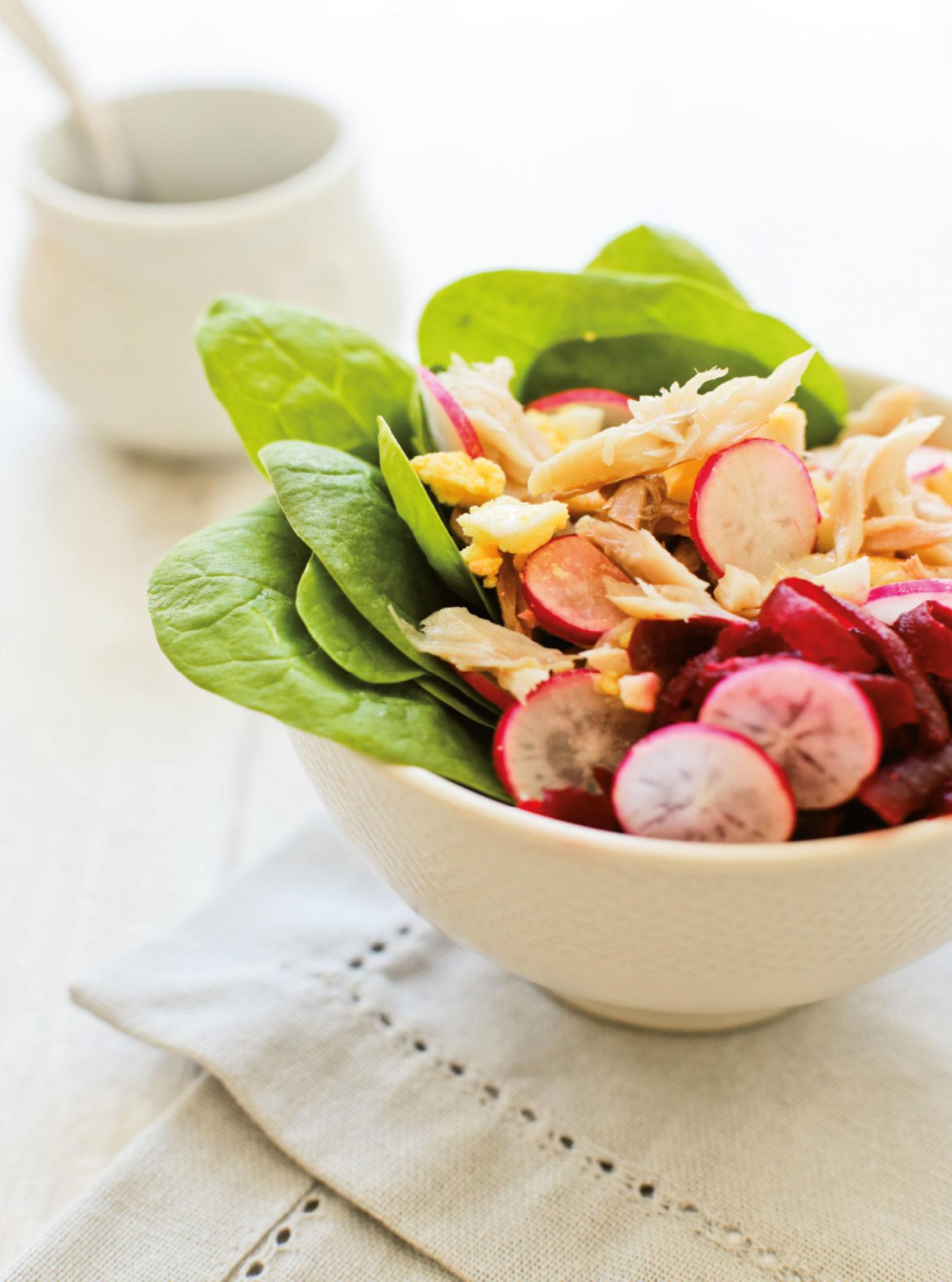 Salade maquereau fumé & épinard frais